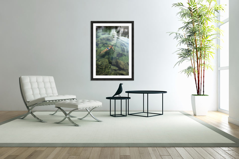 Hawaii, Oahu, Man And Hawaiian Sea Turtle Swimming Side By Side In The Ocean Reef, View From Above. in Custom Picture Frame