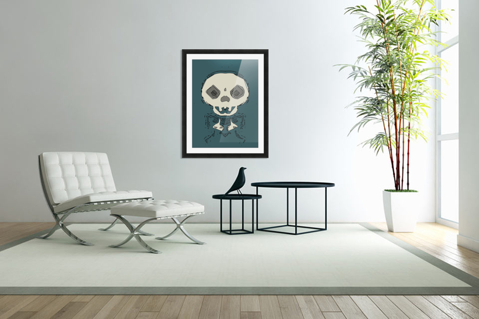 skull and bone graffiti drawing with green background in Custom Picture Frame