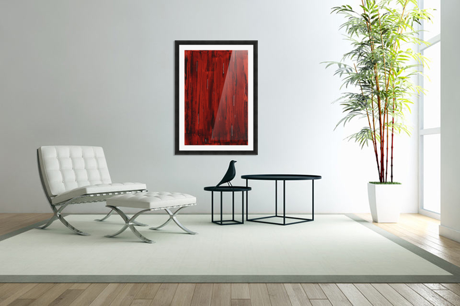 Rain, Abstract Painting In Red And Black (Acrylic Painting). in Custom Picture Frame