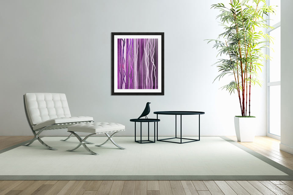 Organic Lines Purple Abstract in Custom Picture Frame