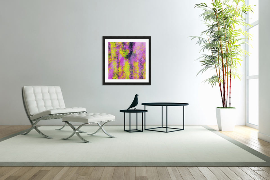 vintage psychedelic painting texture abstract in pink and yellow with noise and grain in Custom Picture Frame
