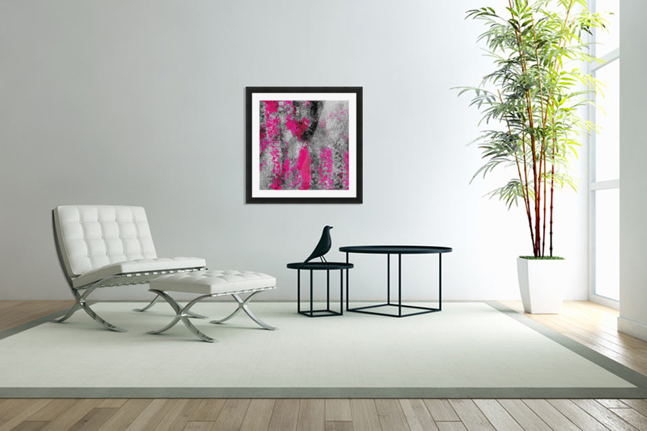vintage psychedelic painting texture abstract in pink and black with noise and grain in Custom Picture Frame