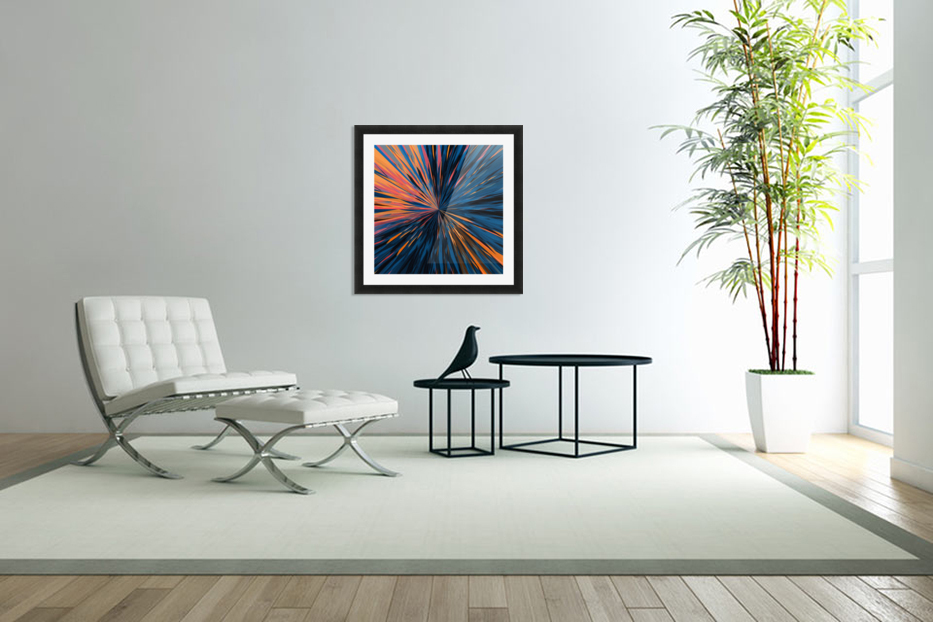 psychedelic splash painting abstract pattern in orange brown pink blue in Custom Picture Frame