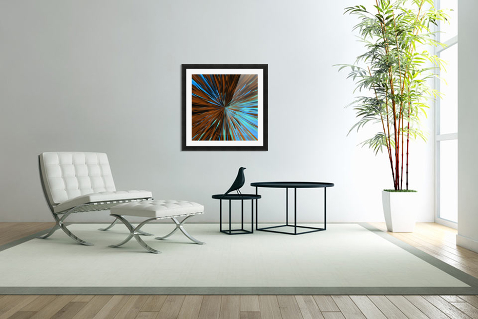 psychedelic splash painting abstract pattern in brown and blue in Custom Picture Frame