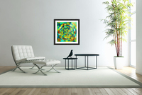 psychedelic geometric polygon pattern abstract in blue yellow green brown  Acrylic Print