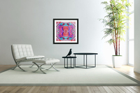 psychedelic geometric symmetry abstract pattern in red pink blue  Acrylic Print