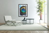 Artwork showing the detail of a colourful bird feather  Acrylic Print