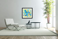 splash painting texture abstract background in blue and yellow  Acrylic Print