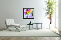 painting texture abstract background in purple yellow green pink  Acrylic Print