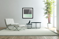 Black & White Stripes with Green Patch  Acrylic Print