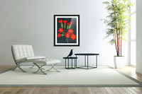 Red flowers shining in a magical starry night  Acrylic Print