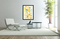 geometric pixel square pattern abstract in yellow brown blue  Acrylic Print