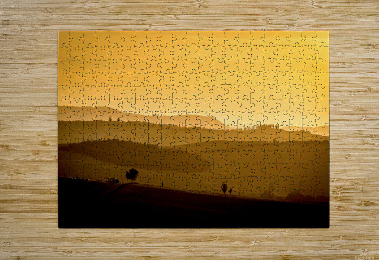 Tuscany Pienza Dawn  HD Metal print with Floating Frame on Back