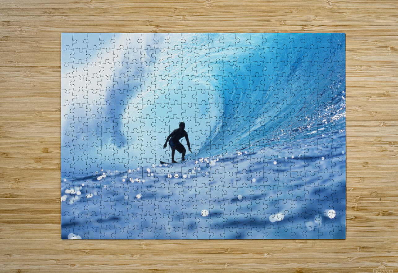 Hawaii, Oahu, North Shore, Silhouette Of Surfer In Pipeline Barrel  HD Metal print with Floating Frame on Back
