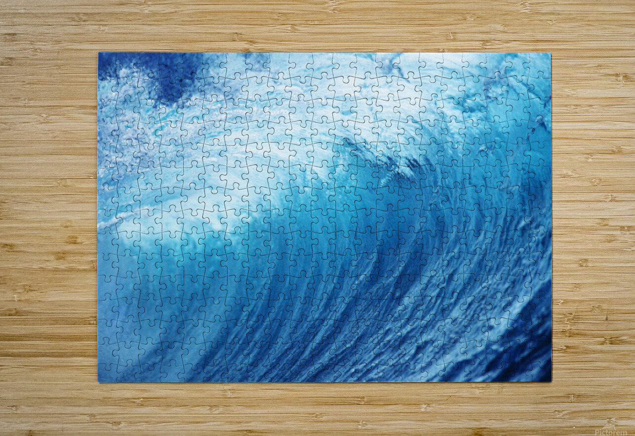 Inside Glassy, Blue Wave Curling Over, Closeup  HD Metal print with Floating Frame on Back