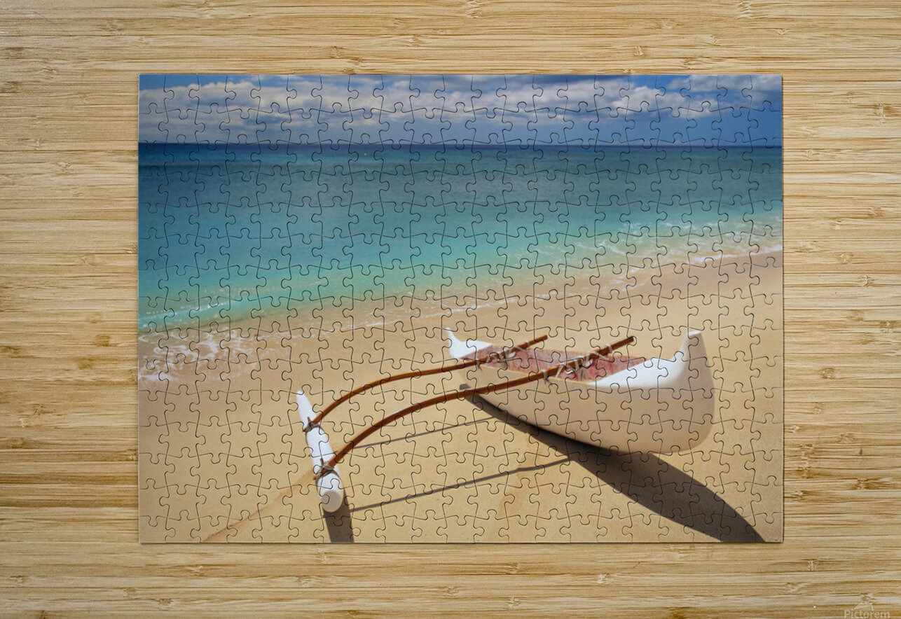 White Outrigger Canoe On Shoreline With Shadow, Calm Turquoise Water  HD Metal print with Floating Frame on Back