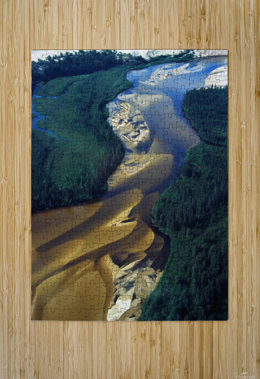 Aerial View Of Williams River That Runs Through Athabaska Dune Fields, Northern Saskatchewan.  HD Metal print with Floating Frame on Back