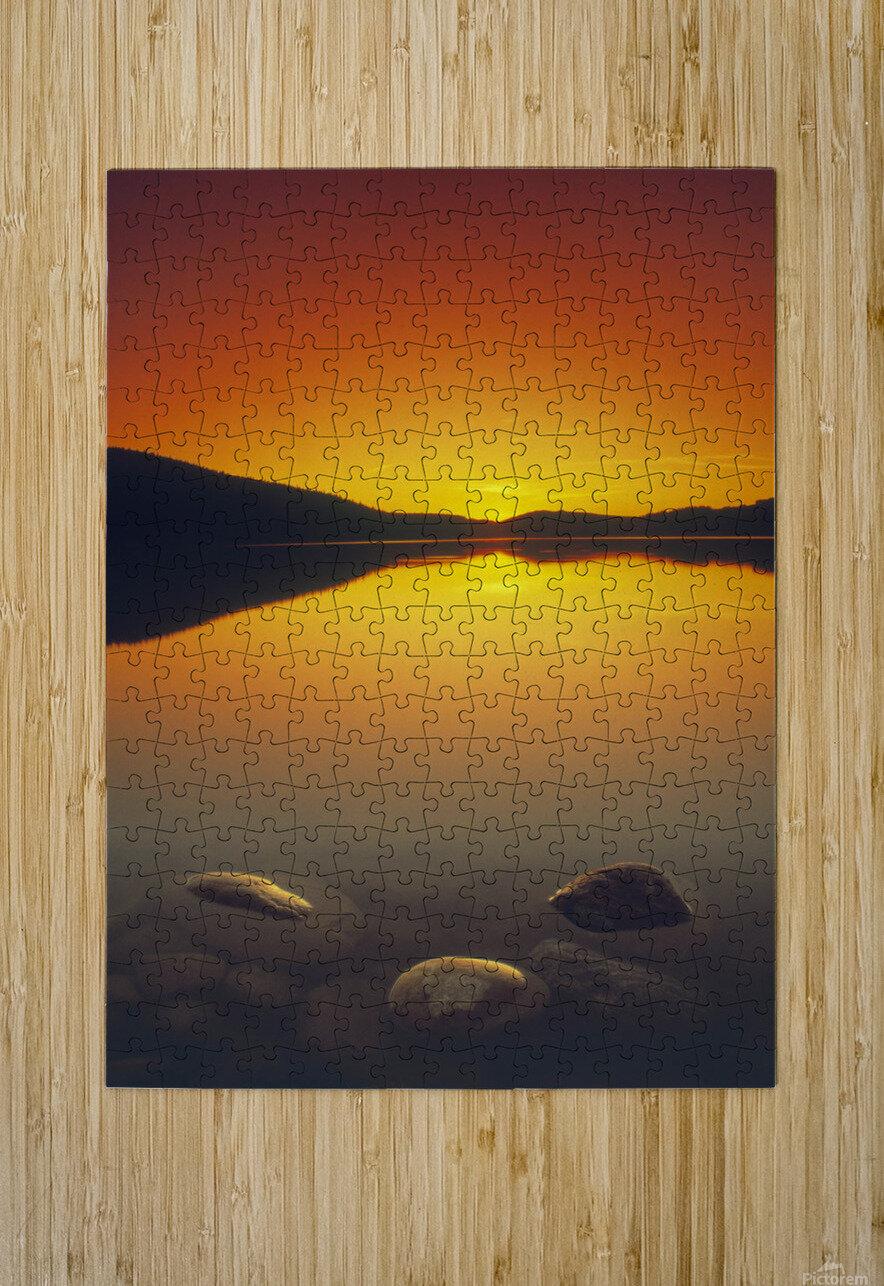Reesor Lake At Sunset, Cypress Hills Interprovincial Park, Elkwater, Alberta, Canada  HD Metal print with Floating Frame on Back