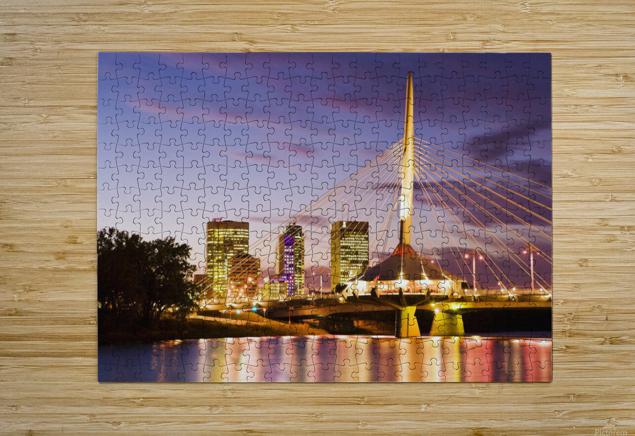City Skyline, Red River And Provencher Bridge At Dusk, Winnipeg, Manitoba  HD Metal print with Floating Frame on Back