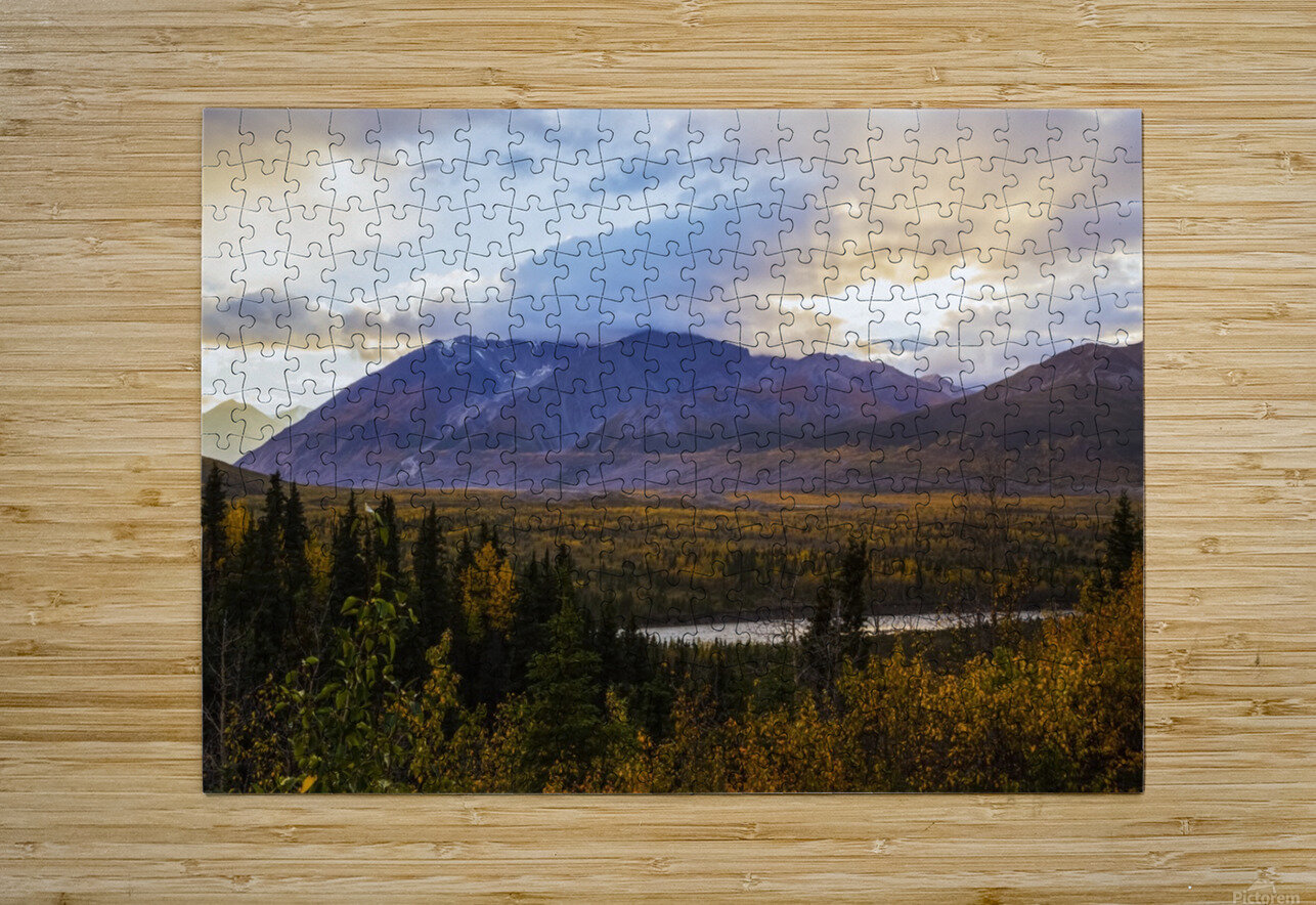Autumn sunset overlooking the area known as 'Black Rapids' in the Alaska Range along the Richardson Highway; Alaska, United States of America  HD Metal print with Floating Frame on Back