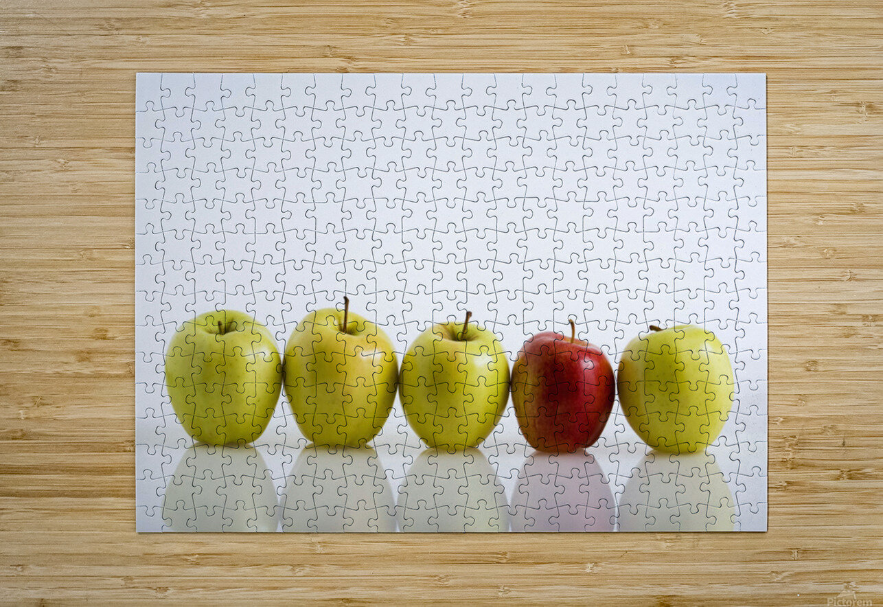 Four Yellow Apples With One Red Apple In A Row On A Reflective Surface; Calgary, Alberta, Canada  HD Metal print with Floating Frame on Back
