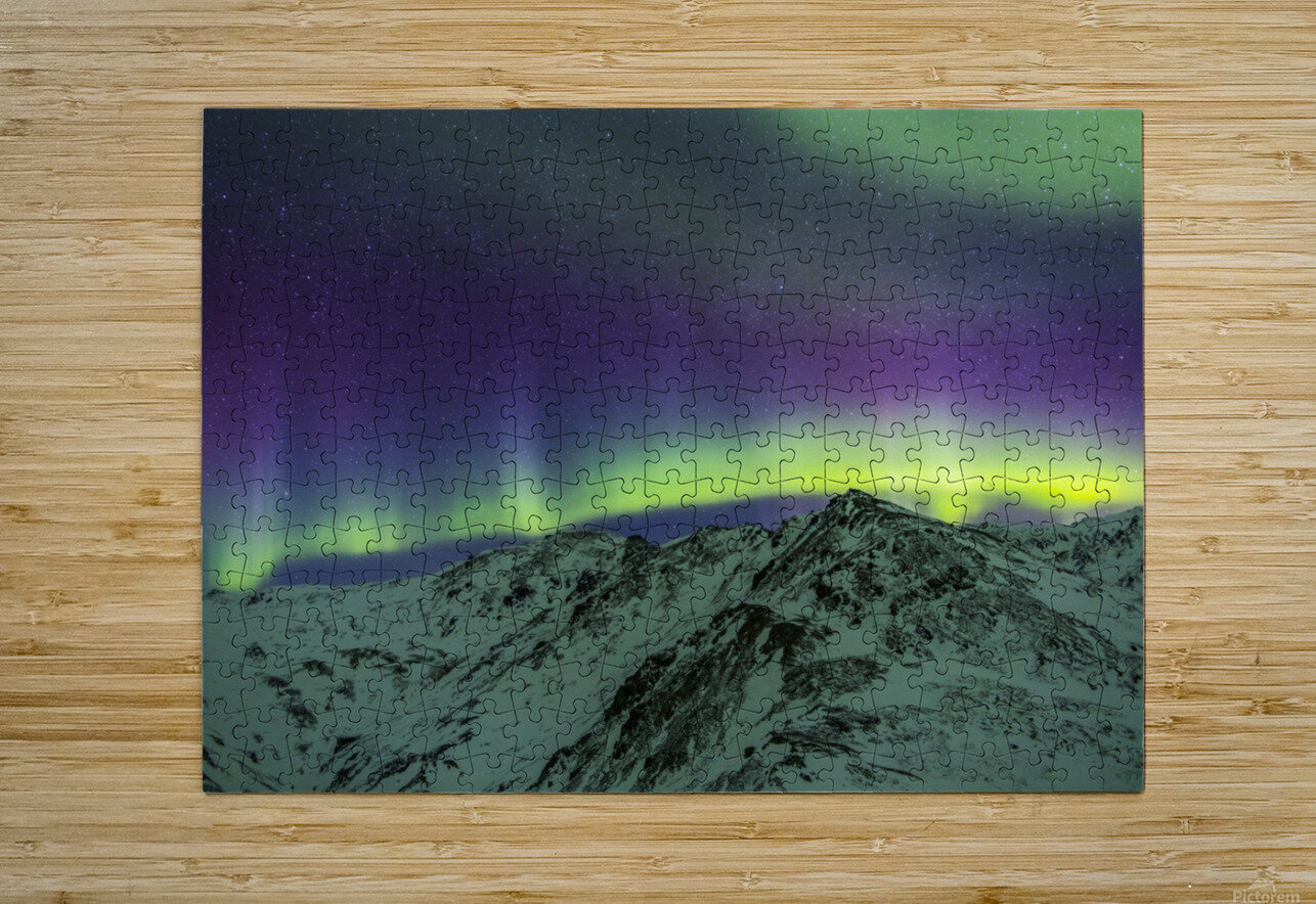 Aurora borealis over mountains within Denali National Park on a very cold winter night.  The Andromeda Galaxy is visible to the left; Alaska, United States of America  HD Metal print with Floating Frame on Back