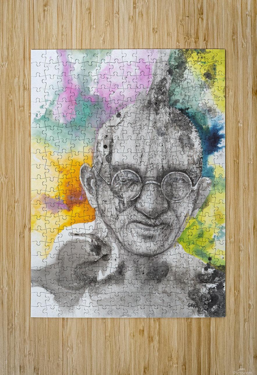 Illustration of a man wearing eyeglasses  HD Metal print with Floating Frame on Back