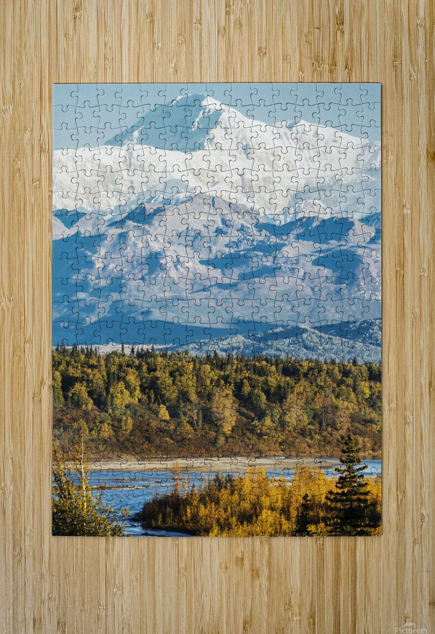 Denali, viewed from the Parks Highway, interior Alaska, near South Viewpoint rest stop; Alaska, United States of America  HD Metal print with Floating Frame on Back