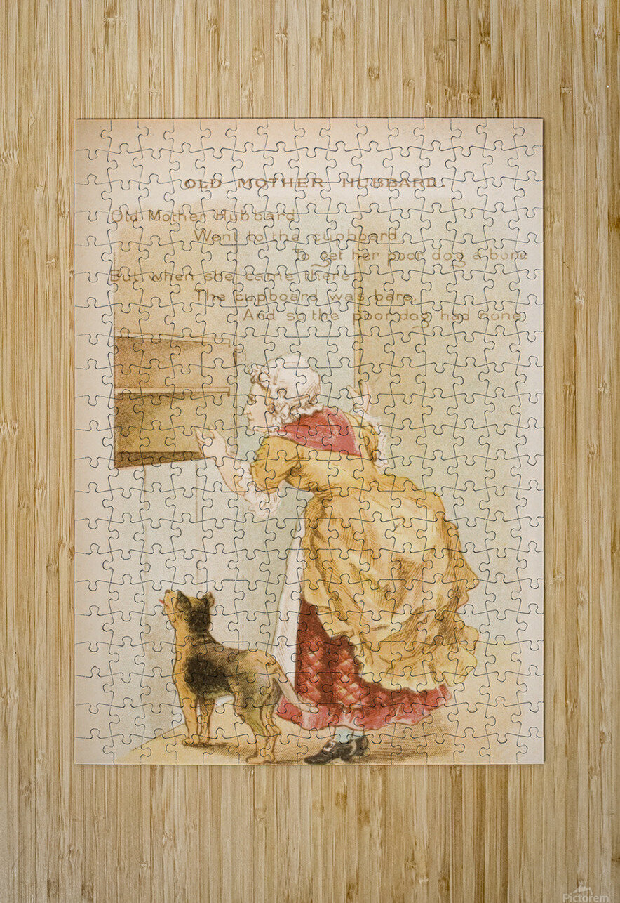 Old Mother Hubbard from Old Mother Goose's Rhymes and Tales  Illustration by Constance Haslewood  Published by Frederick Warne & Co London and New York circa 1890s  Chromolithography by Emrik & Binger of Holland  HD Metal print with Floating Frame on Back