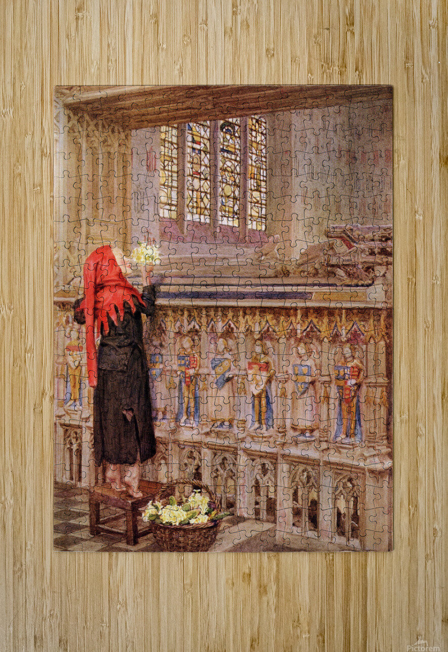 Coloured illustration by Eleanor Fortescue Brickdale illustrating the poem Death the Leveller by Shirley. From the book Palgrave's Golden Treasury of Songs and Lyrics published 1919.  HD Metal print with Floating Frame on Back