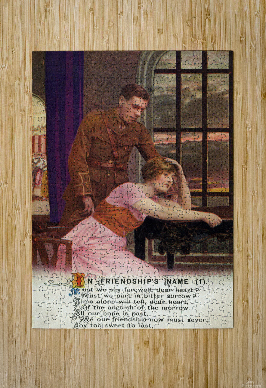 Original  First World War postcard  HD Metal print with Floating Frame on Back