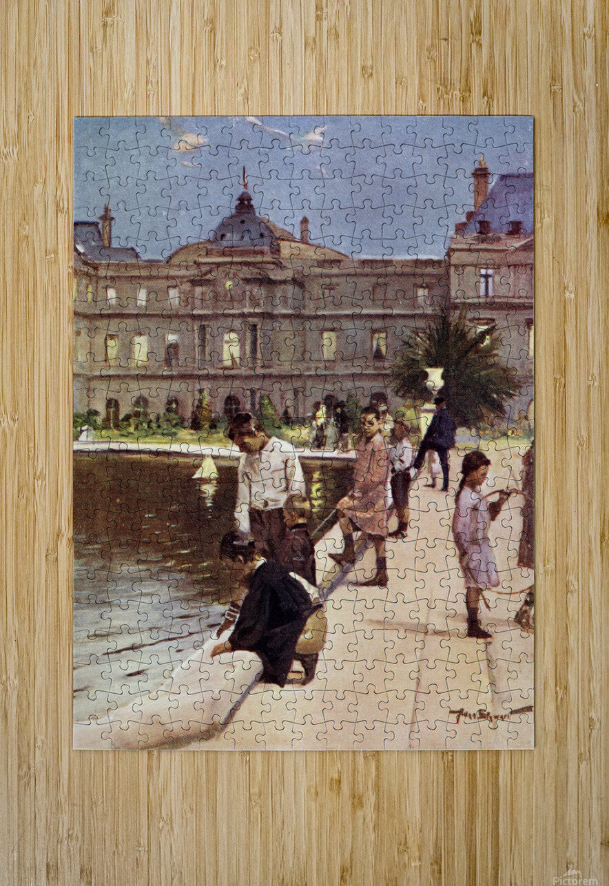 Children of Paris in The Luxemburg Gardens, Paris, France. Colour illustration from the book France by Gordon Home published 1918  HD Metal print with Floating Frame on Back