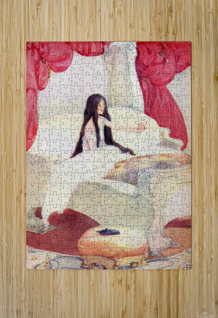 The House in the Wood, illustration from The Golden Wonder Book published 1934.  The bed was of ivory, and the curtains of red velvet, and on a stool close by was placed a pair of slippers ornamented with pearls.  HD Metal print with Floating Frame on Back