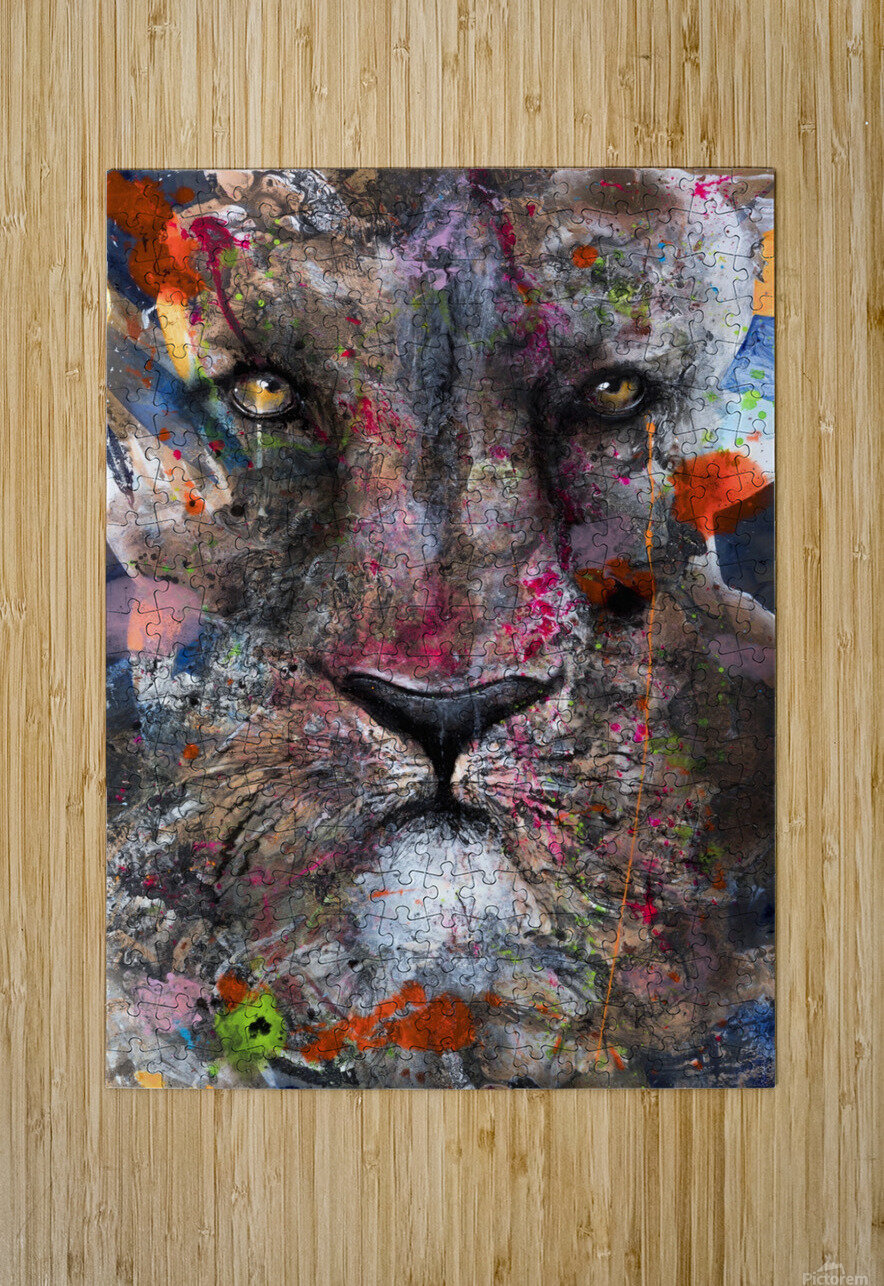 Illustration of a lion's face with colourful splashes  HD Metal print with Floating Frame on Back