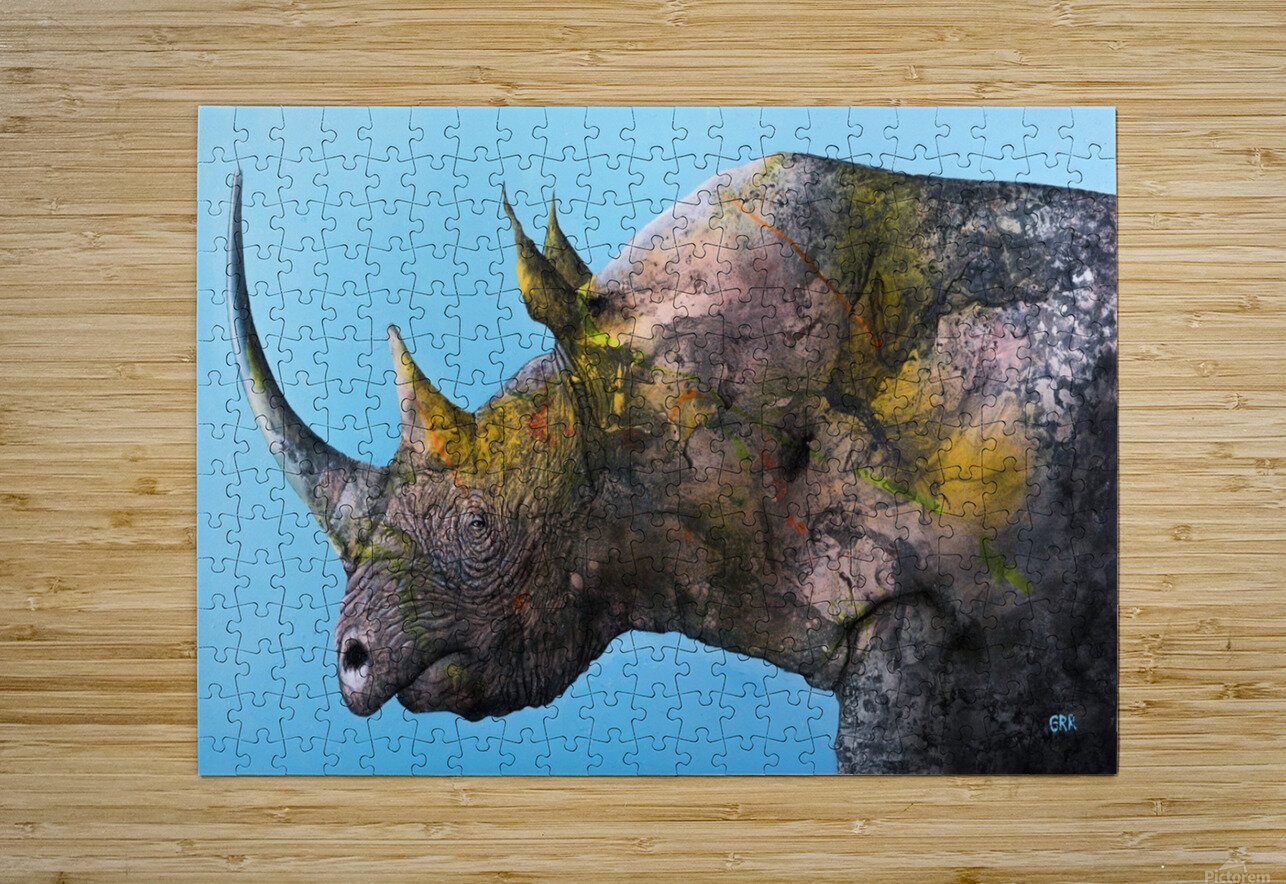 Illustration of a white rhinoceros against a blue background  HD Metal print with Floating Frame on Back