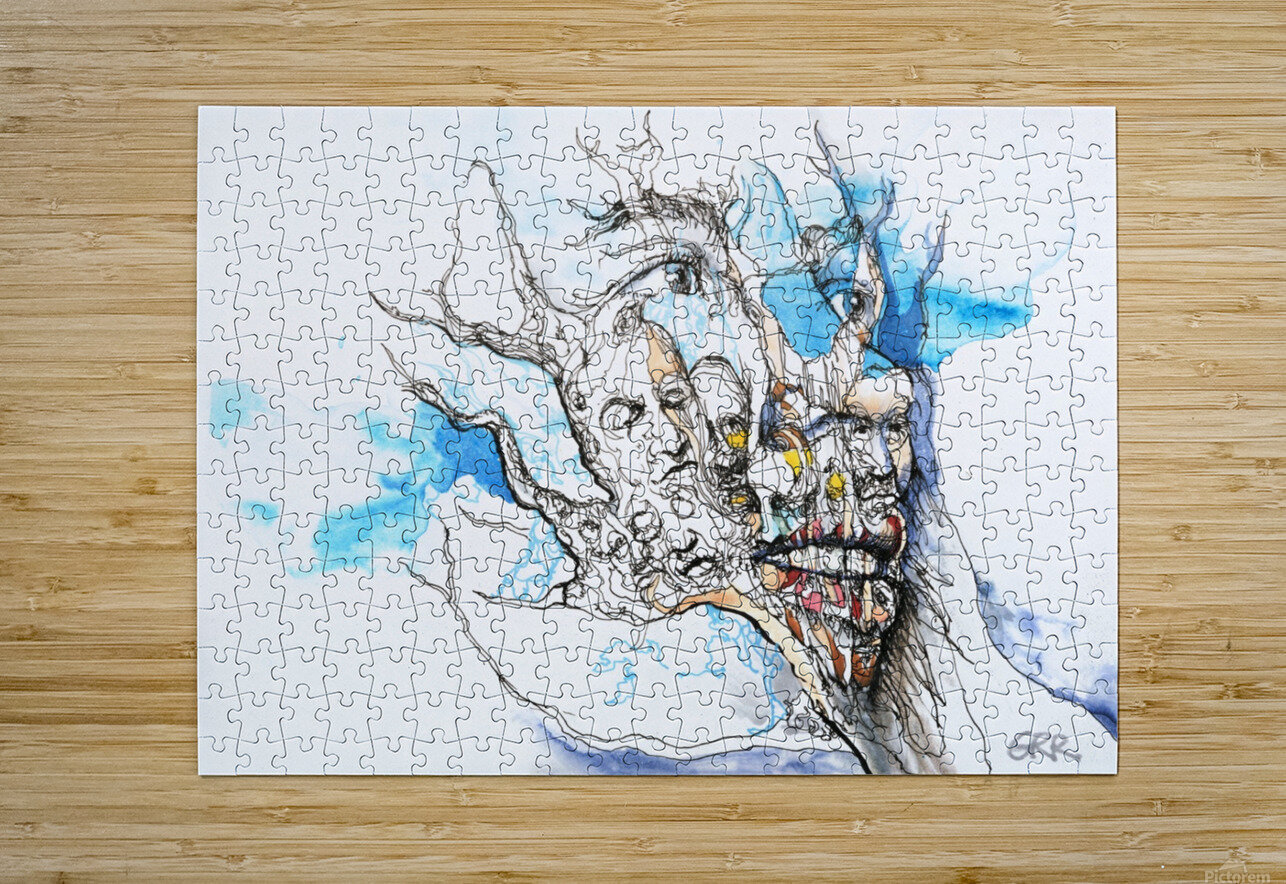Illustration of a human face with a composite of other faces on the surface  HD Metal print with Floating Frame on Back