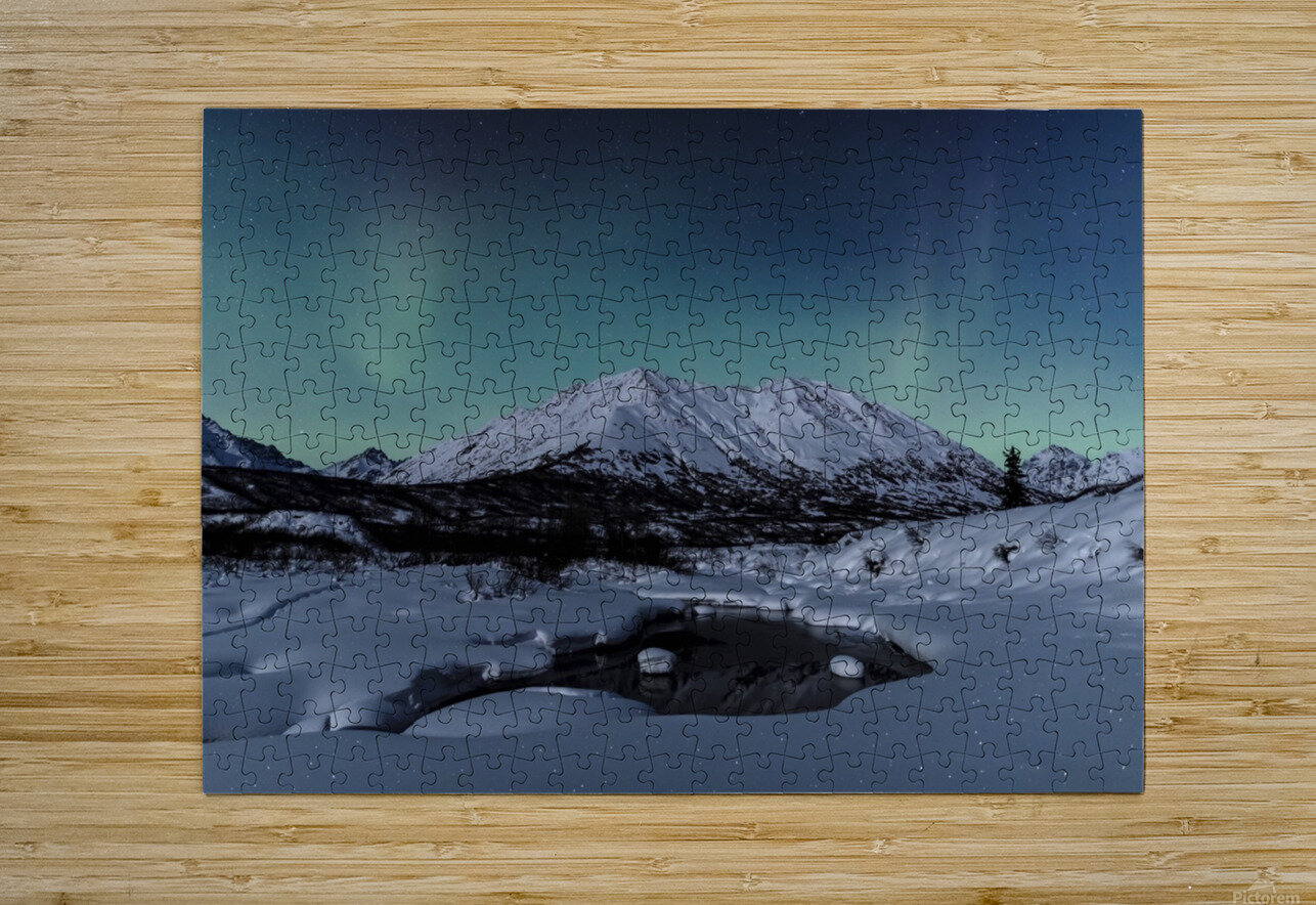 Aurora Borealis (Northern Lights) dance above Idaho Peak and the Little Susitna River at Hatcher Pass in winter, South-central Alaska; Alaska, United States of America  HD Metal print with Floating Frame on Back