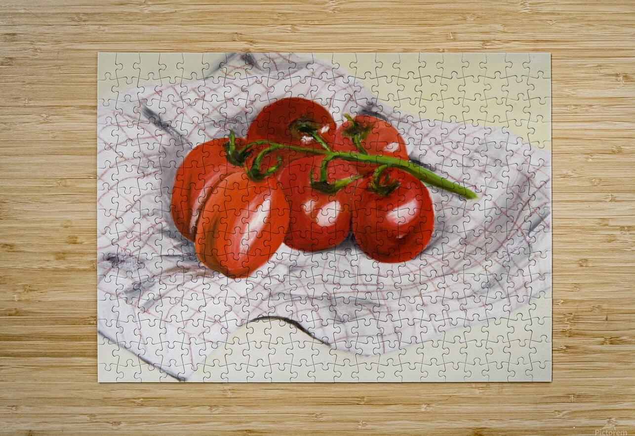 Tomatoes on a Striped Cloth   HD Metal print with Floating Frame on Back
