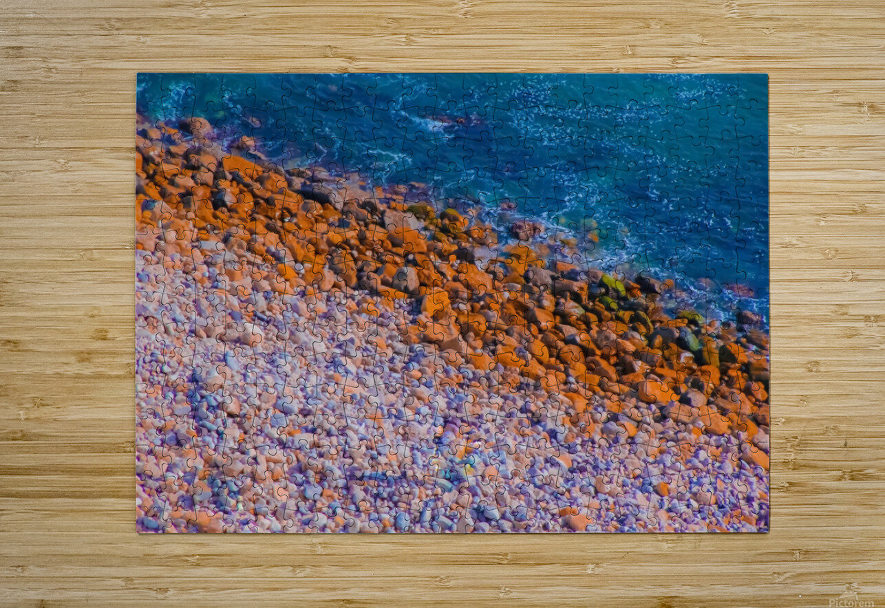 ocean with blue water and rock in summer  HD Metal print with Floating Frame on Back