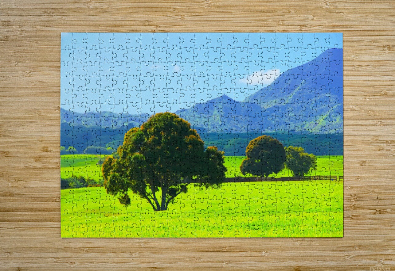 green tree in the green field with green mountain and blue sky background  HD Metal print with Floating Frame on Back