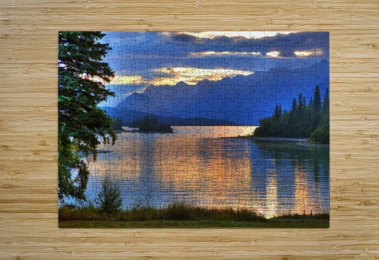 Sunrise On Lake Clark In Lake Clark National Park, Southcentral, Alaska, Hdr Image  HD Metal print with Floating Frame on Back