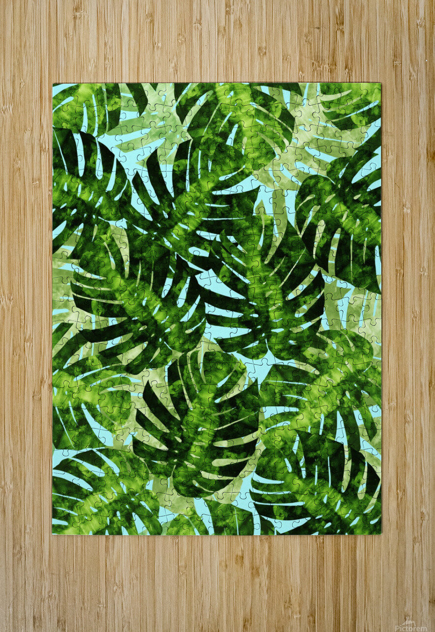 Watercolor leaves tropical I  HD Metal print with Floating Frame on Back