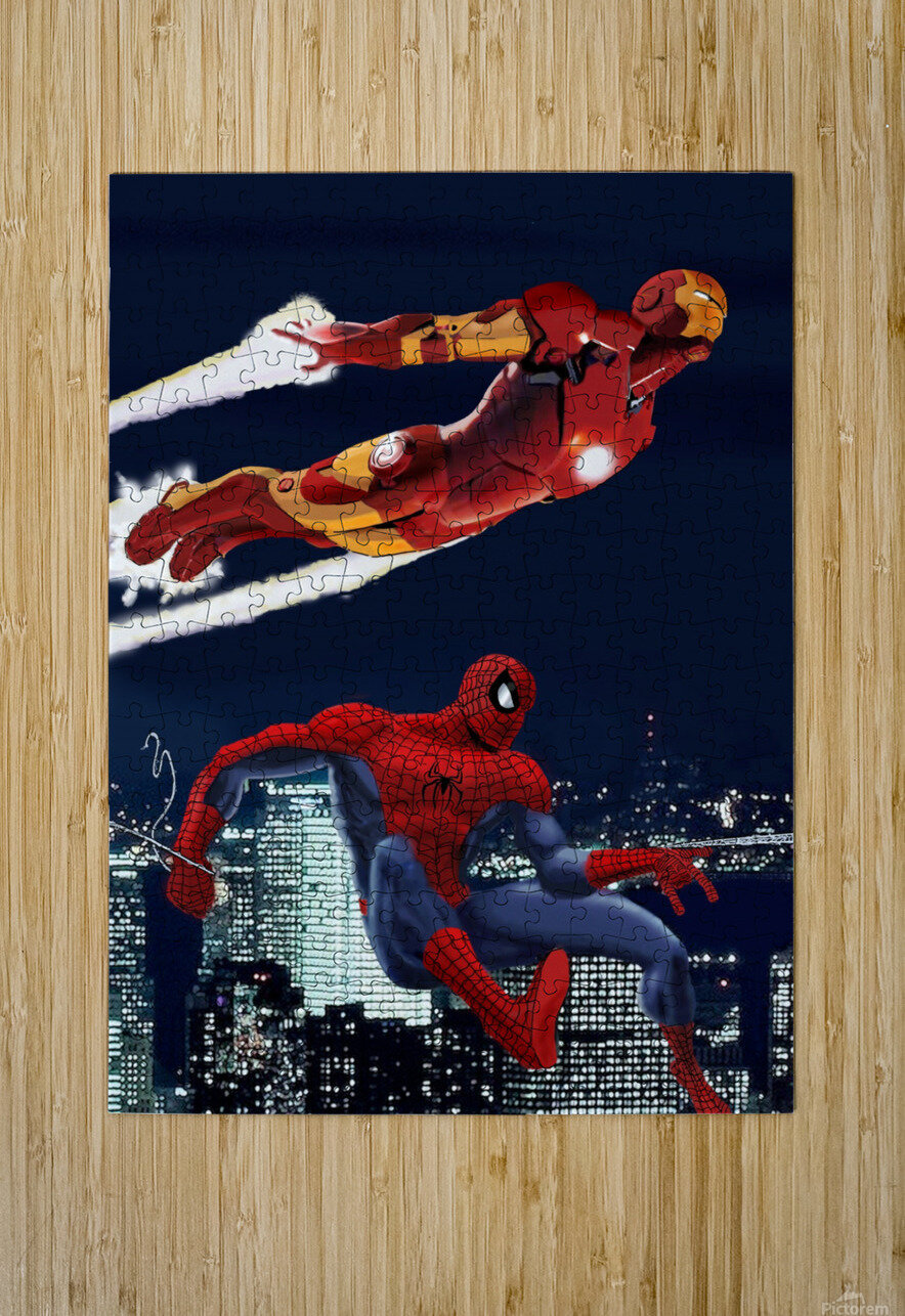 Marvel: Iron Man & Spider-Man  HD Metal print with Floating Frame on Back