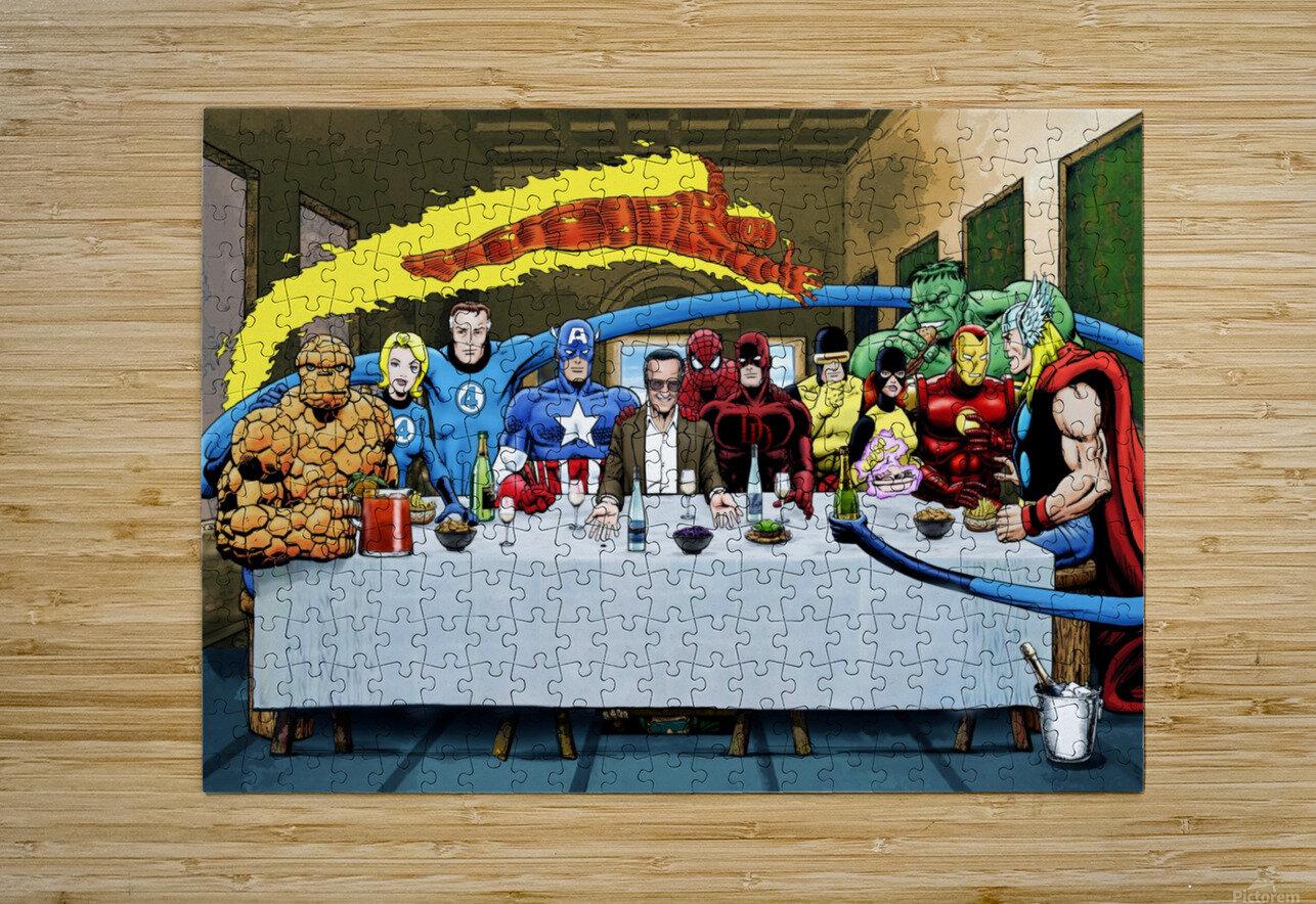 Marvel Superheroes: Stan Lee's Super Supper with Avengers, Fantastic Four, X-Men, Spider-Man & More  HD Metal print with Floating Frame on Back