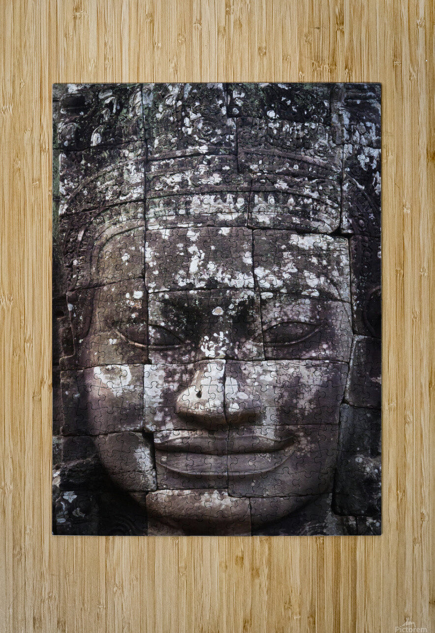 A face sculpture on a stone wall at angkor wat;Cambodia  HD Metal print with Floating Frame on Back