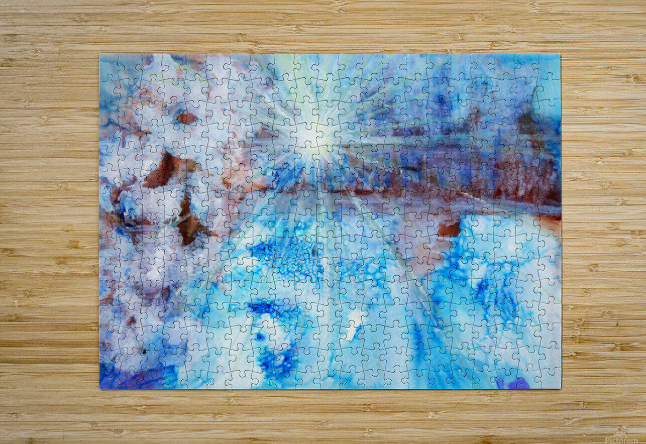 Abstract watercolour painting with a starburst  HD Metal print with Floating Frame on Back