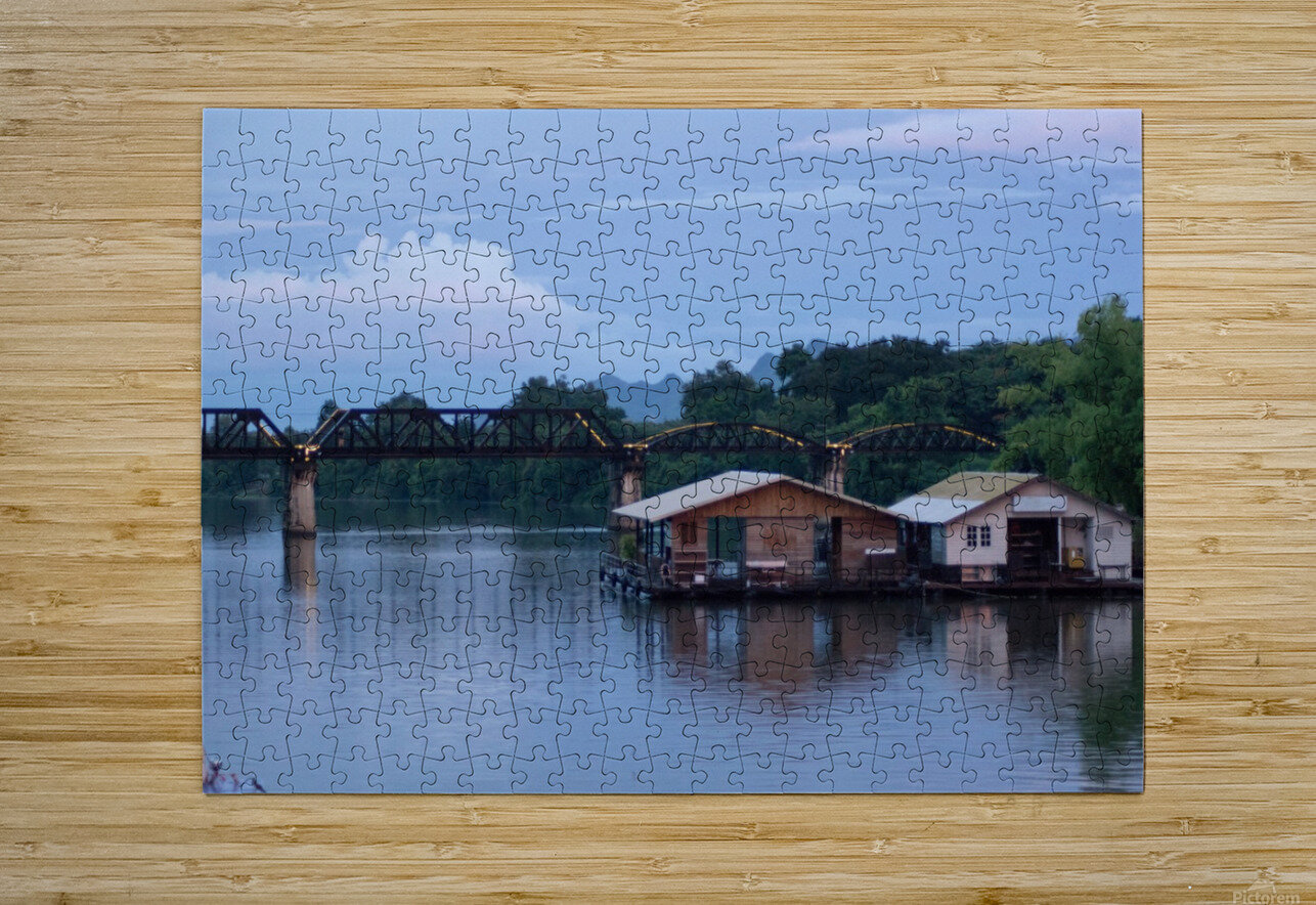 Boat trip on the river Kwai with sunset  HD Metal print with Floating Frame on Back