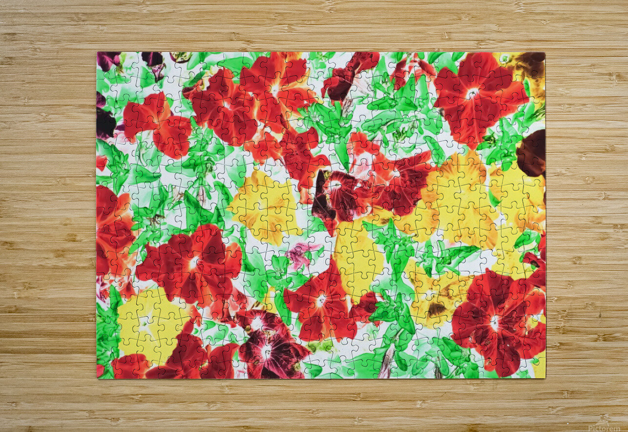 red flower and yellow flower with green leaf abstract background  HD Metal print with Floating Frame on Back