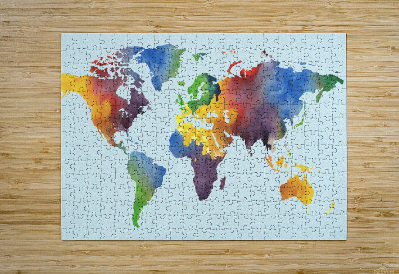 Bright Watercolor Map Of The World  HD Metal print with Floating Frame on Back