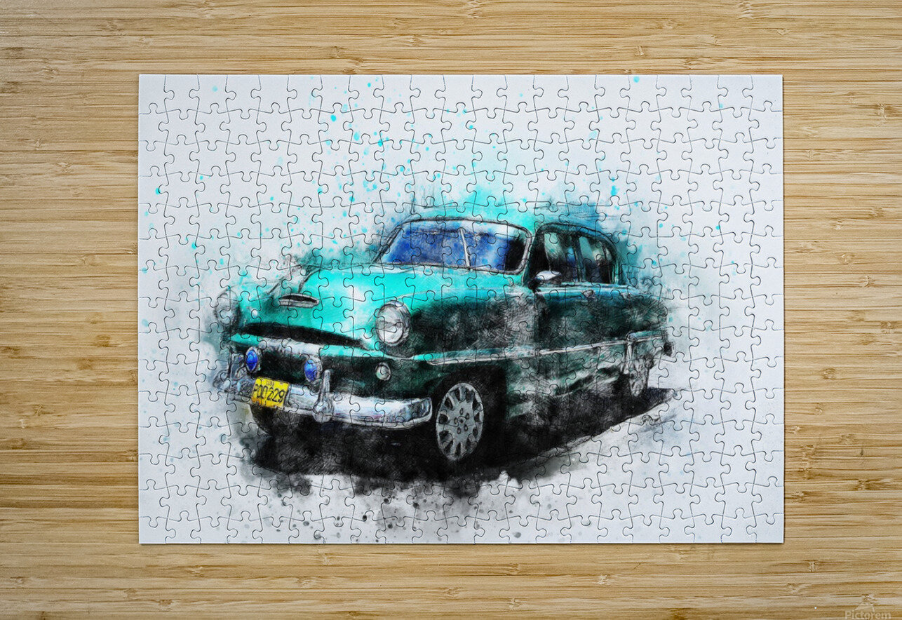 car  HD Metal print with Floating Frame on Back